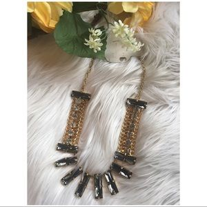 NWT Gray Gold Faux Diamond Statement Necklace